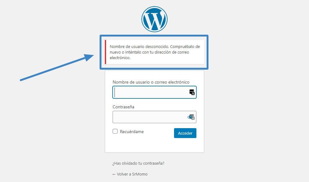 wordpress acceder usuario desconocido