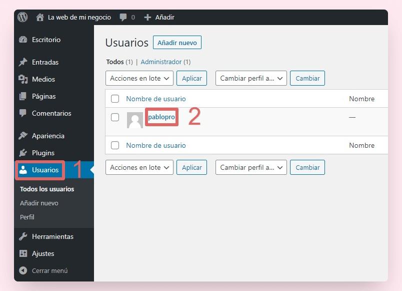 cambiar contraseña wordpress panel 1