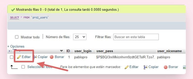 cambiar contraseña wordpress phpmyadmin 4