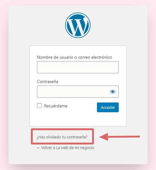 recuperar contraseña wordpress 1