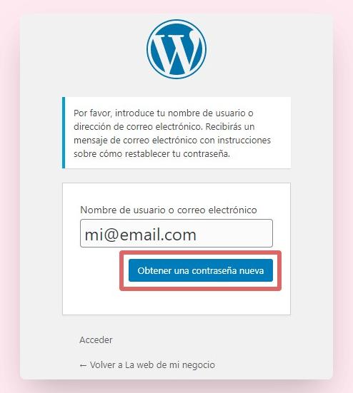recuperar contraseña wordpress 2