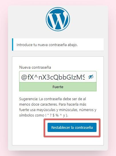 recuperar contraseña wordpress 4