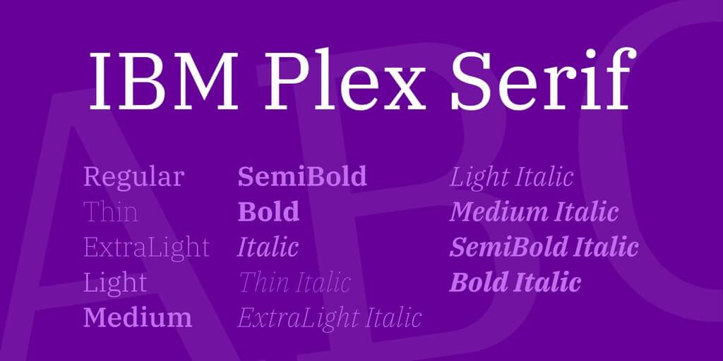 tipografia moderna ibm plex serif