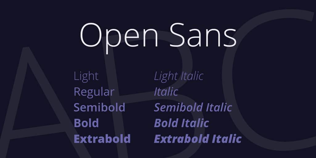 tipografia moderna open sans